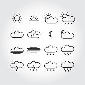 Simple weather icons minimalistic vector icons