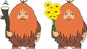 stock photo of cave-dweller  - Two vector images of the cave person with a cudgel and with flowers  - JPG