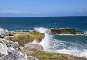 Heavy surf on the rocky coast of Santa Cruz.