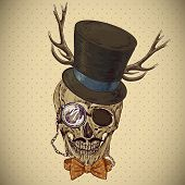Hipster skull vintage background