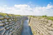 foto of sandbag  - trench world war sandbags and blue sky - JPG