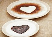 Sweet Cocoa Hearts In Semolina Pudding