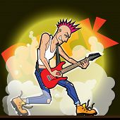 stock photo of iroquois  - Electro Guitar Player with haircut Iroquois and ripped jeans - JPG