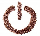 'Power on/off' symbol from coffee beans