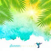 Tropical summer watercolor background with palm trees branches and hummingbird - vector illustration