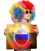 Child With Russian Soccer Background