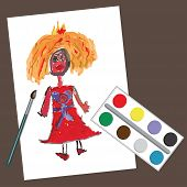Children's Hand Drawing Princess.doodle Paintings