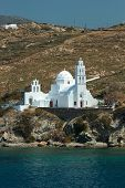 Greece Paros island in cyclades, Church view by the sea in Paros island at summer