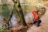 Nature photographer in Plitvice National Park, Croatia, Europe
