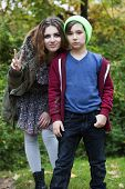 Teenage Girl And Boy In A Park