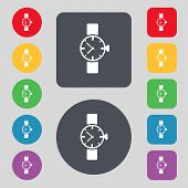 Wrist Watch sign icon. Mechanical clock symbol. Set colourful buttons. Vector