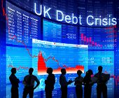 Business People Discussing About UK Debt Crisis