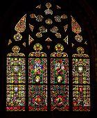 Krakow, Poland - September 26, 2014 Catholic cathedral stained glass window