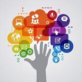 Vector background. Social media concept. Ã??Ã???ommunication in the global computer networks. Set of