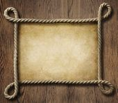 Pirate theme nautical rope frame with old paper