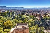 Alhambra Castle Tower Cityscape Churchs Granada Andalusia Spain
