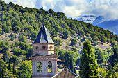 Alhambra Church Castle Towers Farm Mountains Granada Andalusia Spain