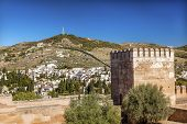 Alhambra Castle Towers Cityscape Wall Granada Andalusia Spain