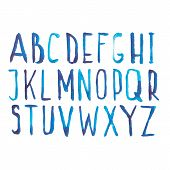 stock photo of alphabet  - Blue watercolor aquarelle font type handwritten hand draw doodle abc alphabet letters and numbers Vector illustration - JPG