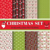 Christmas Retro Set - 8 seamless patterns - for design, photo booth in vector