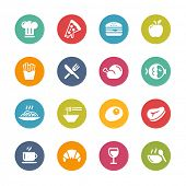Food & Drink Icons - 1 // Fresh Colors Series ++ Icons and buttons in different layers, easy to change colors ++