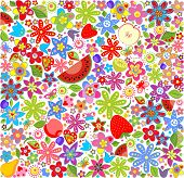 Summery floral wallpaper with fruits