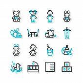 Set Of Icons - A Home Interior, Nursery, Children