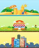 City, market, beach, vector backgrounds flat design