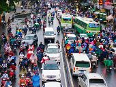 Traffic Jam, Asia City,rush Hour, Rain Day