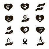Charity donation social services and volunteer black icons pictogram set isolated vector illustratio