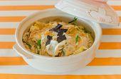 stock photo of pork cutlet  - pork cutlet vegetable and egg on rice japanese Katsudon - JPG