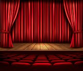 stock photo of drama  - A theater stage with a red curtain - JPG