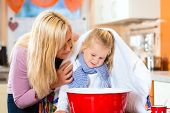 picture of vapor  - Mother care for sick child with vapor - JPG