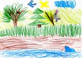 forest and wild animals. child fantasy drawing