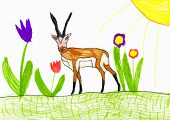 antelope on flower meadow. child drawing