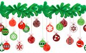 stock photo of ball cap  - Seamless festive Christmas garland with fir and different glass balls - JPG