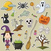 Cute Witch And Halloween Objects