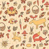 Autumn Seamless Pattern With Animals