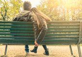stock photo of lovers  - Couple on a bench  - JPG