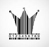 Barcode Princess Crown  Image Vector Illustration