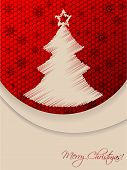 Red Christmas Greeting Card With Scribbled Tree And Hexagon Background