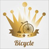 Bicycle Illustration Over Color Background
