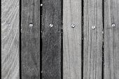Wood plank wall texture background with screws close up