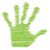 Conceptual green painted drawing hand shape print or scribble isolated on white paper background