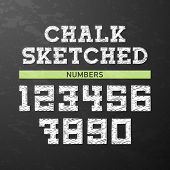 Chalk sketched numbers. Vector.