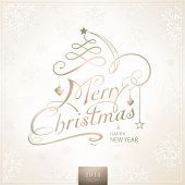 Christmas card in desaturated beige brown white shades with light effects. Merry Christmas is depict
