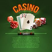 pic of dice  - Pocker casino gambling set with dice cards chips on green background vector illustration - JPG