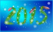 illustration with number 2015 from green fir branches on blue snowflakes background
