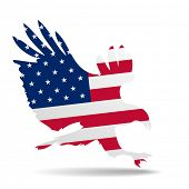detailed illustration of a hunting eagle silhouette colored with the american flag, eps10 vector