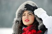 Image of beautiful female in luxurious fur head cloth outdoor in winter